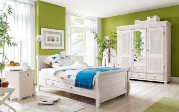 Kiefer Schlafzimmer weiss - Massivholzmöbel