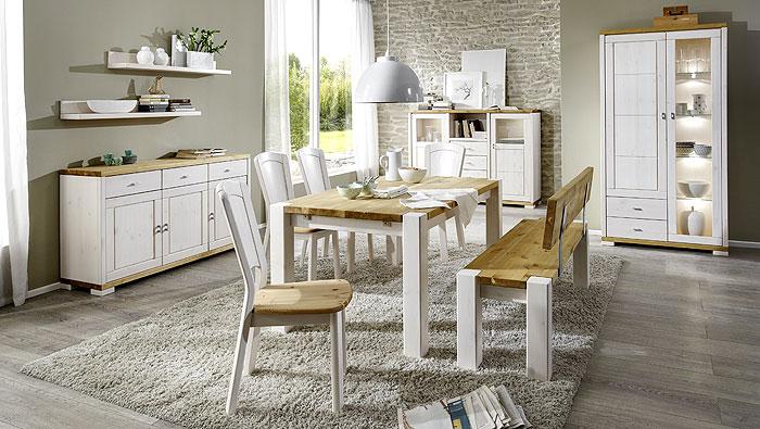 Massivholzmöbel Esszimmermöbel - Kiefer weiss und gelaugt abgesetzt - Vollholzmöbel