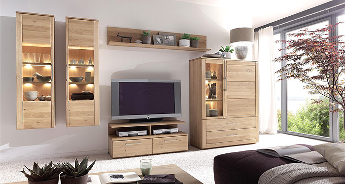 wohnwand echtholz eiche. Black Bedroom Furniture Sets. Home Design Ideas