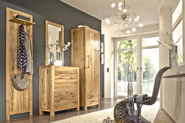 massivholzm bel dielenm bel gardderobe kommode dielenschrank spiegel eiche massivholz. Black Bedroom Furniture Sets. Home Design Ideas