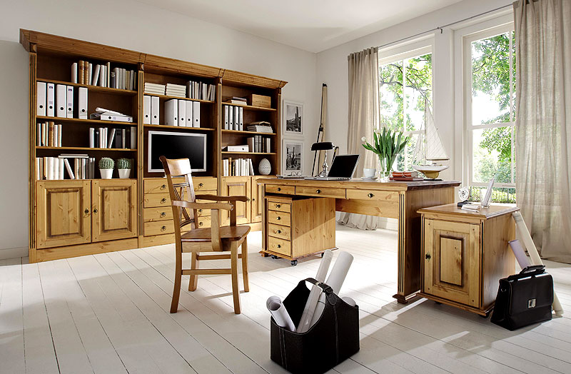 Büromöbel - Büroeinrichtung - Massivholzmöbel Kiefer massiv - natur lackiert