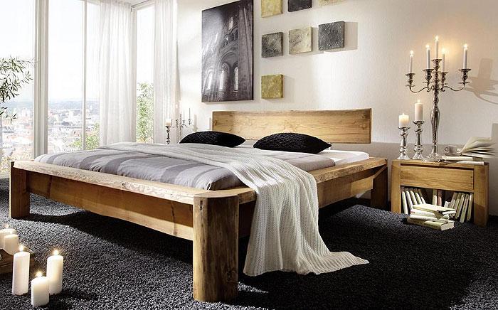 Massivholz Balkenbett rustikal - Jedes Bett ein Unikat - Kiefer massiv