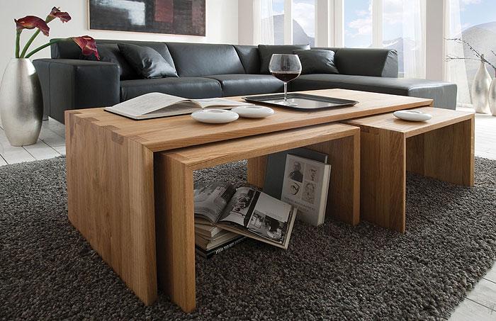 Wohnzimmer Couchtisch Sitzbank massiv Holz Kernbuche Camilla