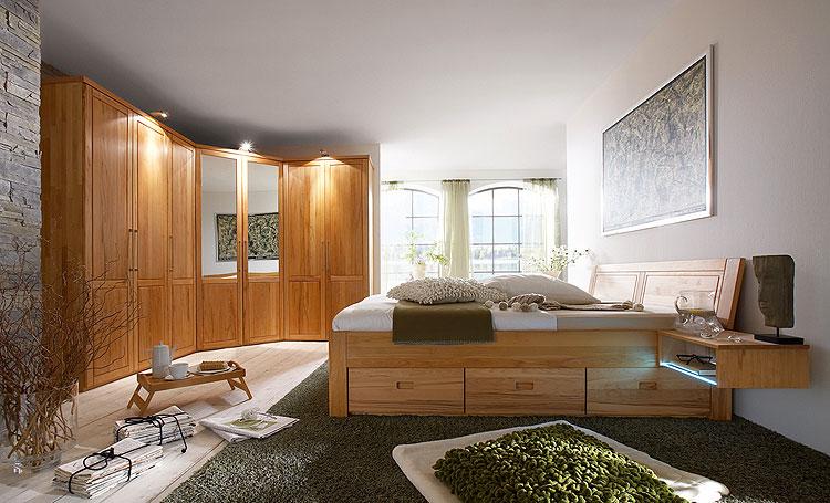 Schlafzimmerbett mit Schubladen - Kernbuche geölt
