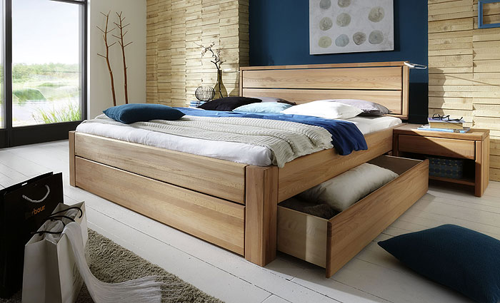 Stauraumbett - Bett mit Schubladen - Kernbuche massiv Holz - 140 x 200cm