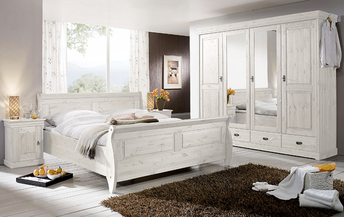 3S Frankenmöbel - Schlafzimmer Roland - weiß lasiert