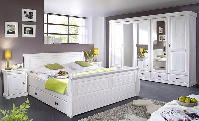 Schlafzimmer ROM - Kiefer Massivholz - weiß gewachst