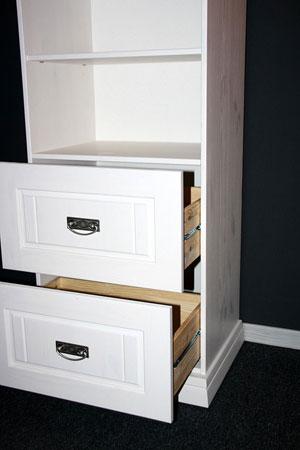 Kinderzimmerregal mit Schubladen - weiss Kiefer massiv Holz