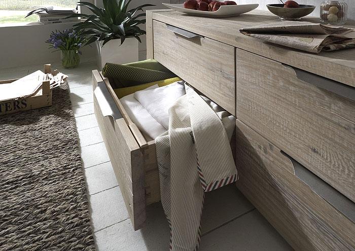 Schubladenkommode - Sideboard - Balkeneiche Oberfläche weiß gewischt