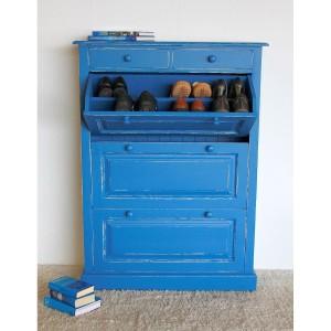 Schuhschrank mit Klappen blau Shabby Chic Massivholz Angebot