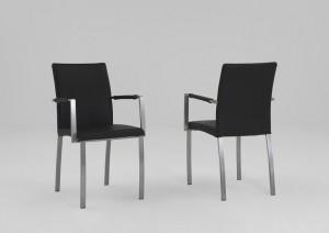 Armlehnenstühle Leder schwarz