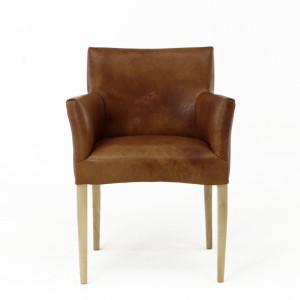 Echtholz Stuhl Antik Leder braun