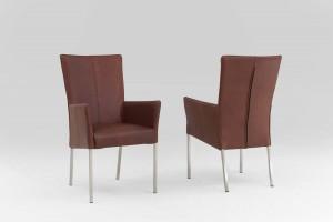 Esszimmer Stühle mit Armlehnen Leder braun