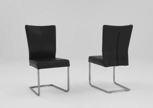 Freischwinger Stühle Leder schwarz