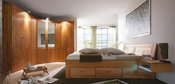 Schlafzimmer Palermo Kernbuche massiv Holz geölt Gomab