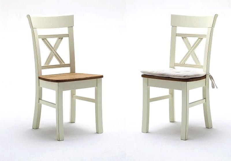 Stühle Nordic Home Kiefer Wildeiche Massivholz cremeweiß gelaugt Gomab