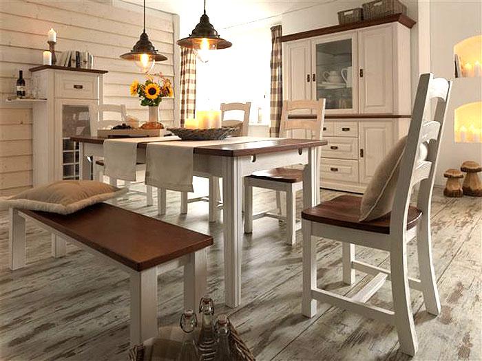 massivholz esszimmer pinieta weiss kolonial massiv holz. Black Bedroom Furniture Sets. Home Design Ideas