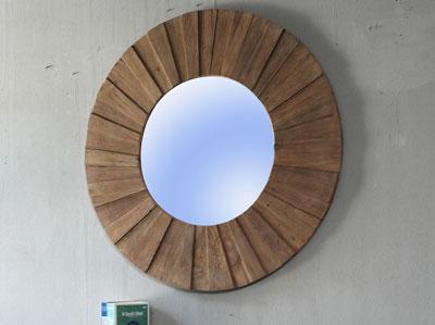 Wandspiegel rund mit Holzrahmen Teak massiv Holz landhausstil
