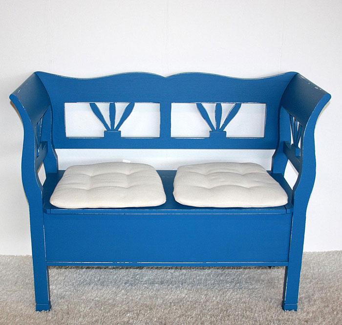 Holzbank mit Rückenlehne Fichte massiv Holz blau weiss shabby