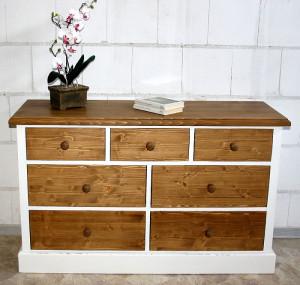 Kommode mit Schubladen weiss antik shabby Fichte massiv Holz ...