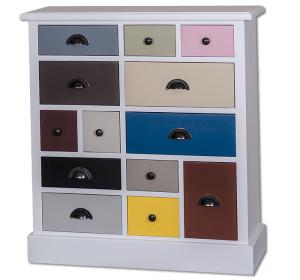 Bunte Möbel Apothekerkommode Fichte massiv Holz - PS474-multicolor