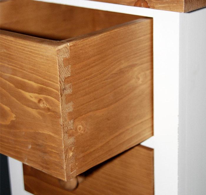 Schubladenkommode Fichte massiv Holz weiss shabby antk gewachst PS158-SC