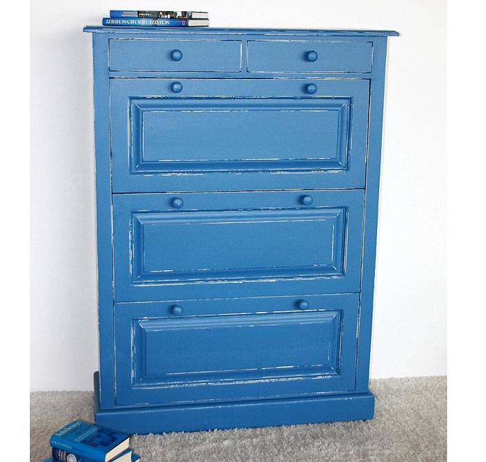Schuhkipper Fichte massiv Holz blau weiss shabby - Massivholz-Möbel ...