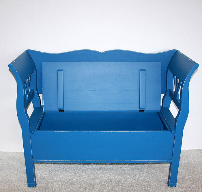Bank mit Rückenlehne Fichte massiv Holz blau weiss shabby