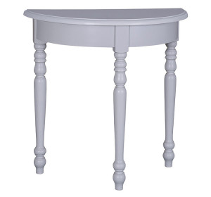 Tisch halbrund Fichte massiv weiß lackiert