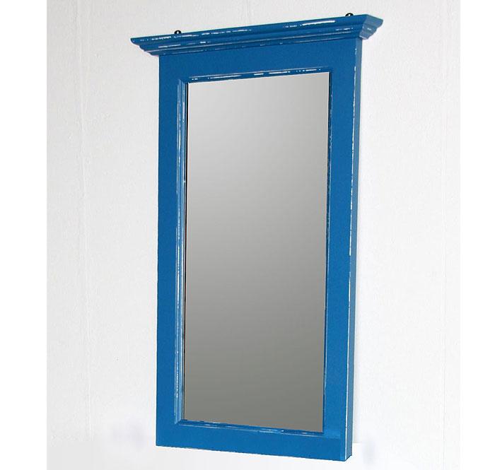 Spiegel Fichte massiv Holz blau weiss shabby