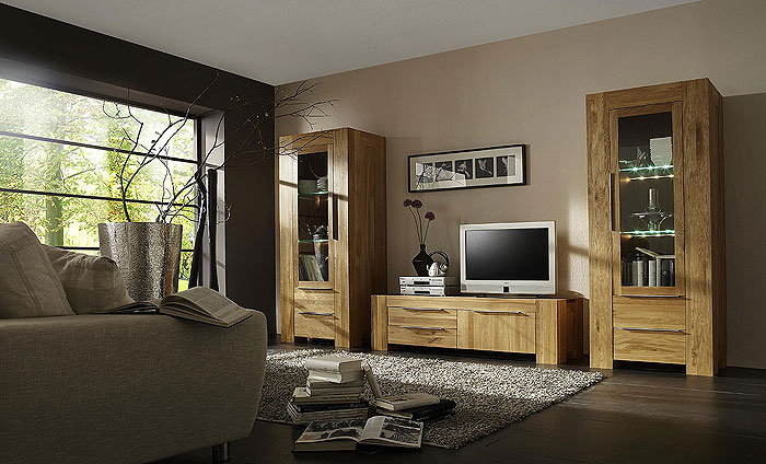wohnwand wildeiche massiv holz ge lt balder massivholz. Black Bedroom Furniture Sets. Home Design Ideas