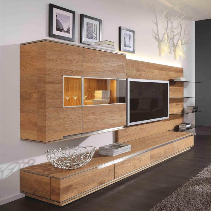 Acerro wohn und esszimmer eiche massivholz m bel in for Moderne wohnwand massivholz