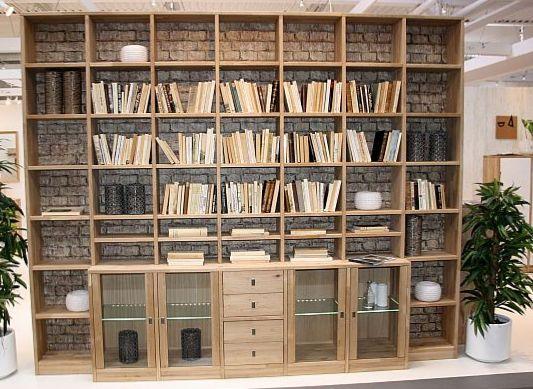 regalwand eiche bibliothek massiv