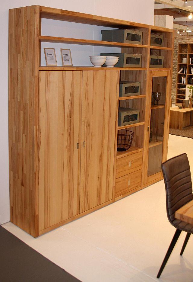 schrankwand vitrine kernbuche massivholz massivholz. Black Bedroom Furniture Sets. Home Design Ideas