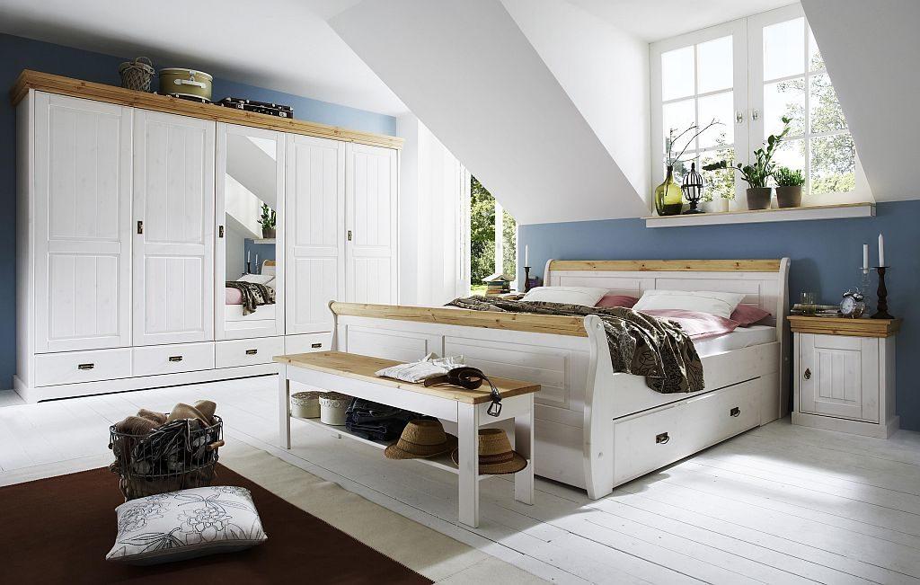 massivholz doppelbett weiß landhausstil 180x200