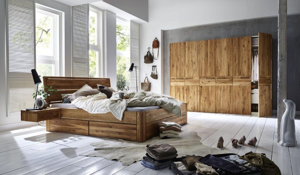 schubkastenbett massiv aus eiche natuerlich geoelt in 160x200 cm