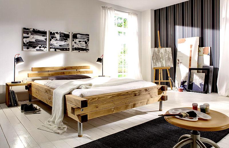 Balkenbett Tokio Kiefer Fichet massiv Holz SC-Koks