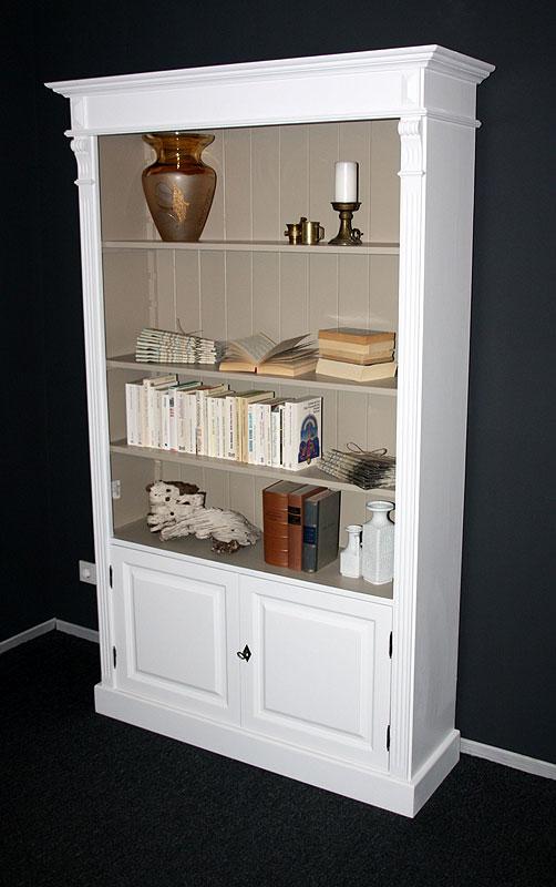 Massivholz Bücherschrank weiss mit Schublade