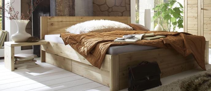 Kiefer Möbel - Doppelbett mit Schubladen