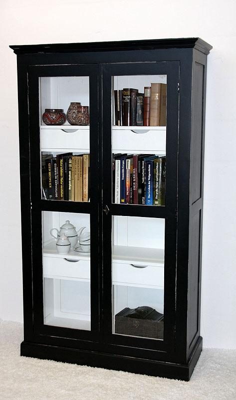 Massivholz Bücherschrank schwarz Fichte
