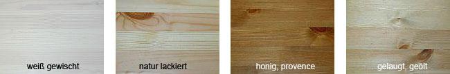 Die Schlafzimmer sind in den abgebildeten Farbmustern erhältlich: weiss gewischt, natur lackiert, honig lackiert und gelaugt geölt
