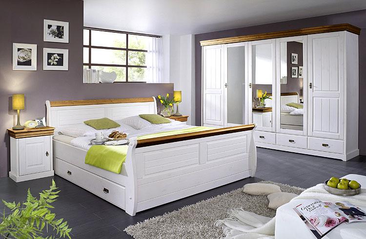 Schlafzimmermöbel masssiv Holz Kiefer weiß honig