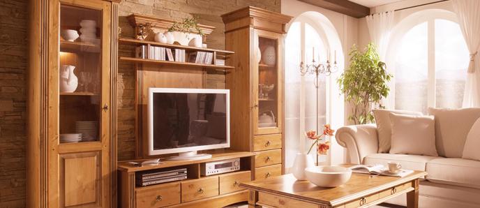 Kiefer Möbel massiv Wohnwand Honig Goldbraun