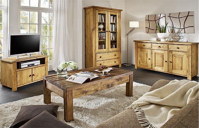 Balkenmöbel Wohnzimmer Kiefer - Massivholzmöbel