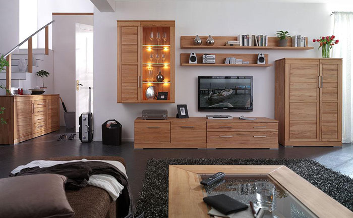 Massivholz Wohnzimmer Komplett
