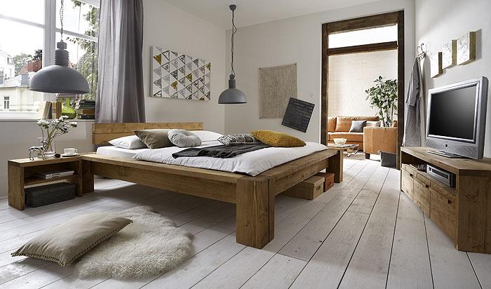 Balkenmöbel Schlafzimmer Balkenbett und TV-Möbel