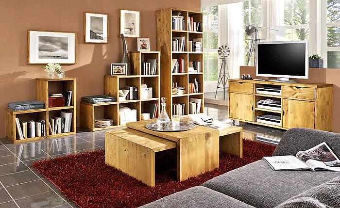 Balkenmöbel Wohnzimmer Massivholzmöbel Kiefer