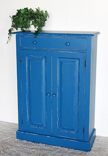 Massivholzmöbel Shabby chic Kommode mit Schublade und Türen
