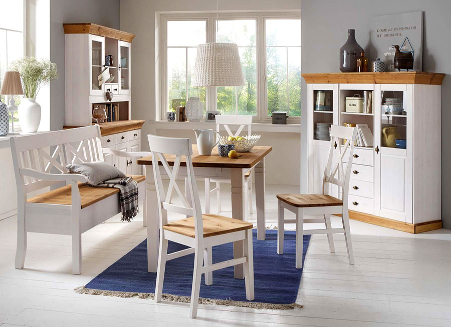 Esszimmermöbel - Massivholzmöbel aus Kiefer - Esstisch Vitrine Sitzbank Holzstuhl