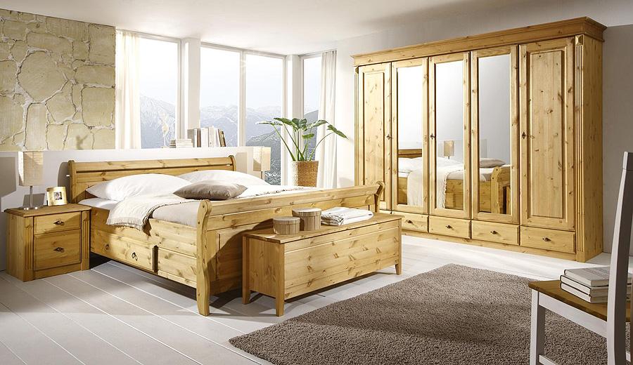 Massivholz Schlafzimmer Set - komplett Kiefer gelaugt geölt